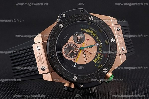 Hublot Big Bang Unico Bi-Retrograde Chrono King Gold Case Black Rubber Strap 622772 Replica Review